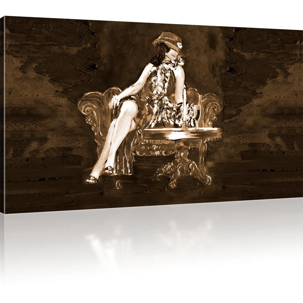 bilder elegante dame wandbild auf leinwand frau kunstdruck. Black Bedroom Furniture Sets. Home Design Ideas