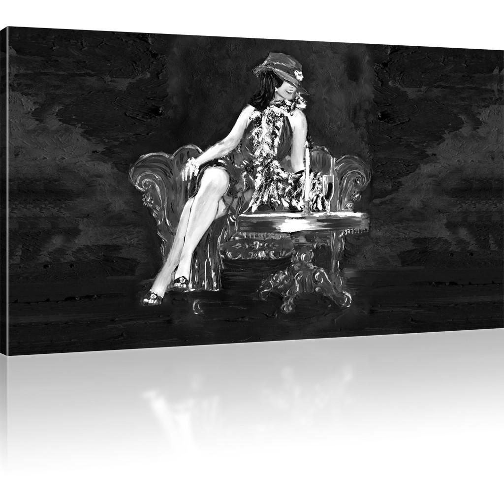 Bilder elegante dame wandbild auf leinwand frau kunstdruck for Elegante wandbilder