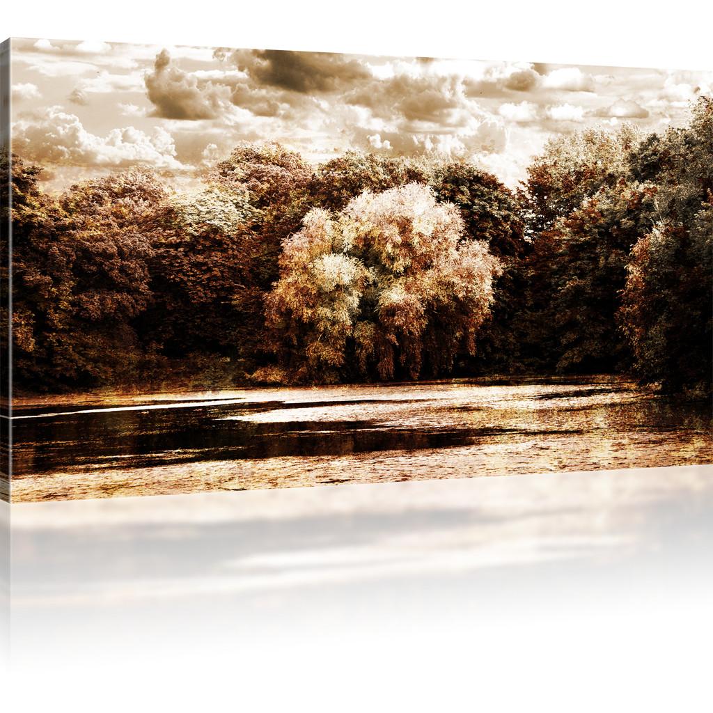 bilder park im herbst wandbild see bild auf leinwand natur kunstdruck ebay. Black Bedroom Furniture Sets. Home Design Ideas