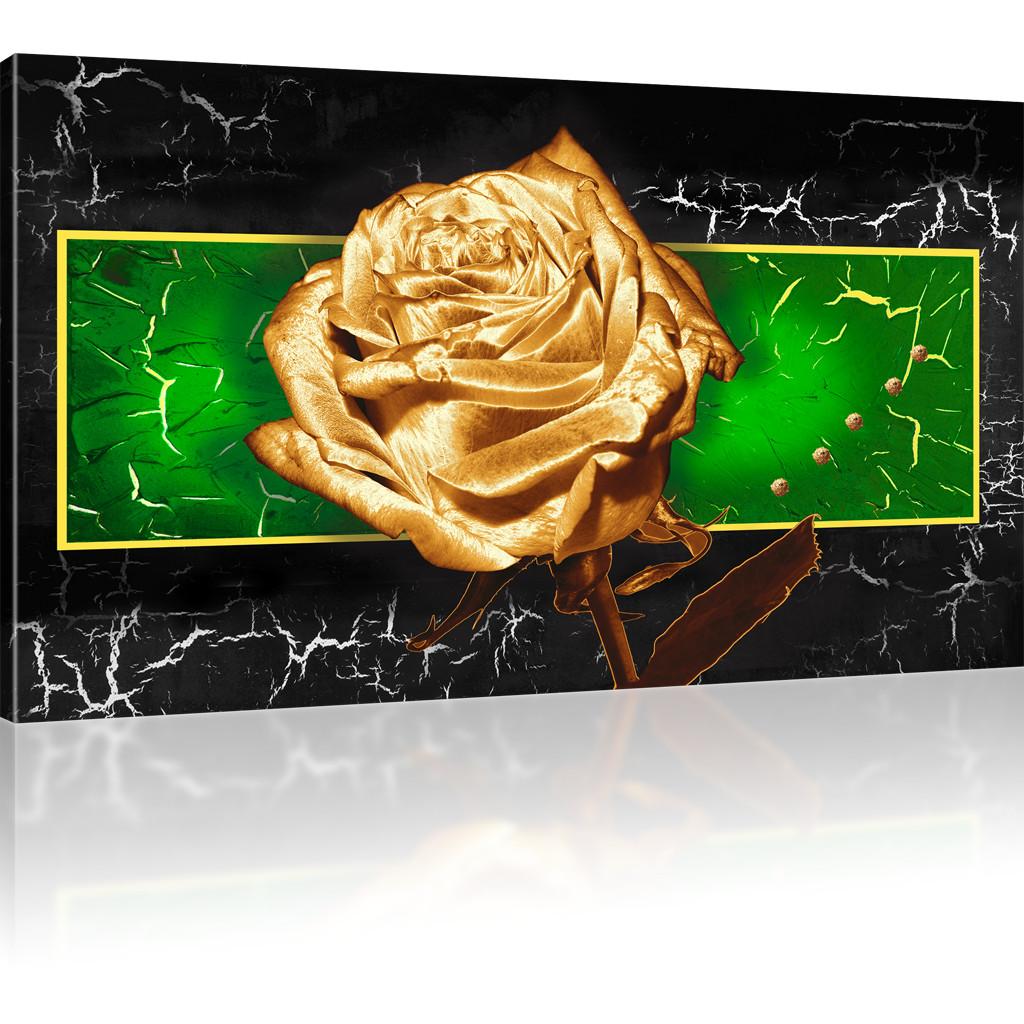 bilder goldene rose wandbild auf leinwand kunstdruck natur. Black Bedroom Furniture Sets. Home Design Ideas
