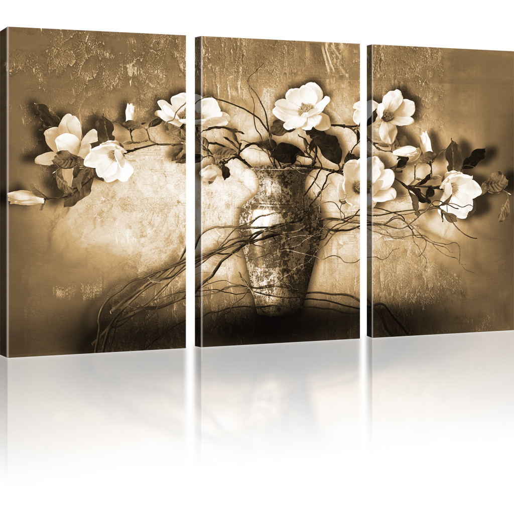 bilder magnolien in der vase leinwandbild blumen. Black Bedroom Furniture Sets. Home Design Ideas