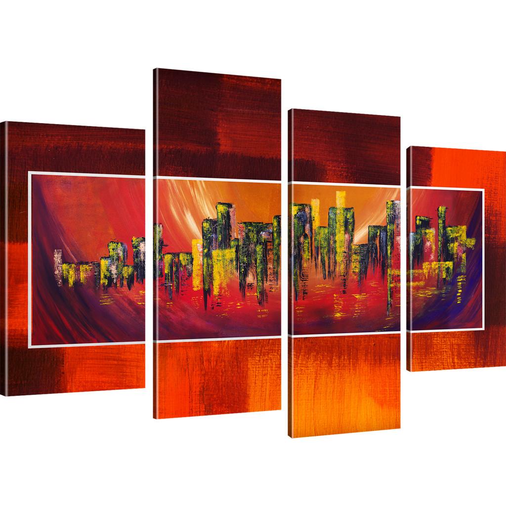 bilder abstrakte stadt wandbilder auf leinwand kunstdruck. Black Bedroom Furniture Sets. Home Design Ideas