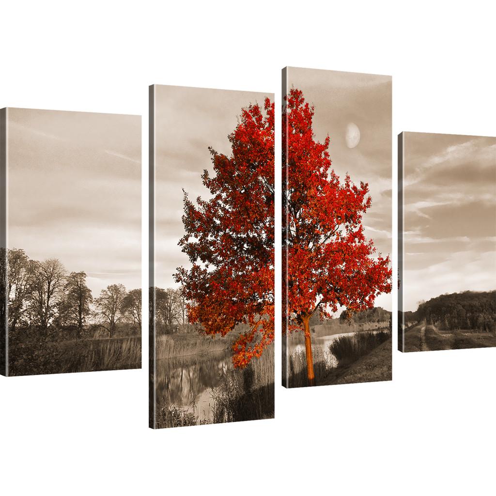 bilder roter baum wandbilder landschaft bild auf leinwand natur kunstdruck. Black Bedroom Furniture Sets. Home Design Ideas