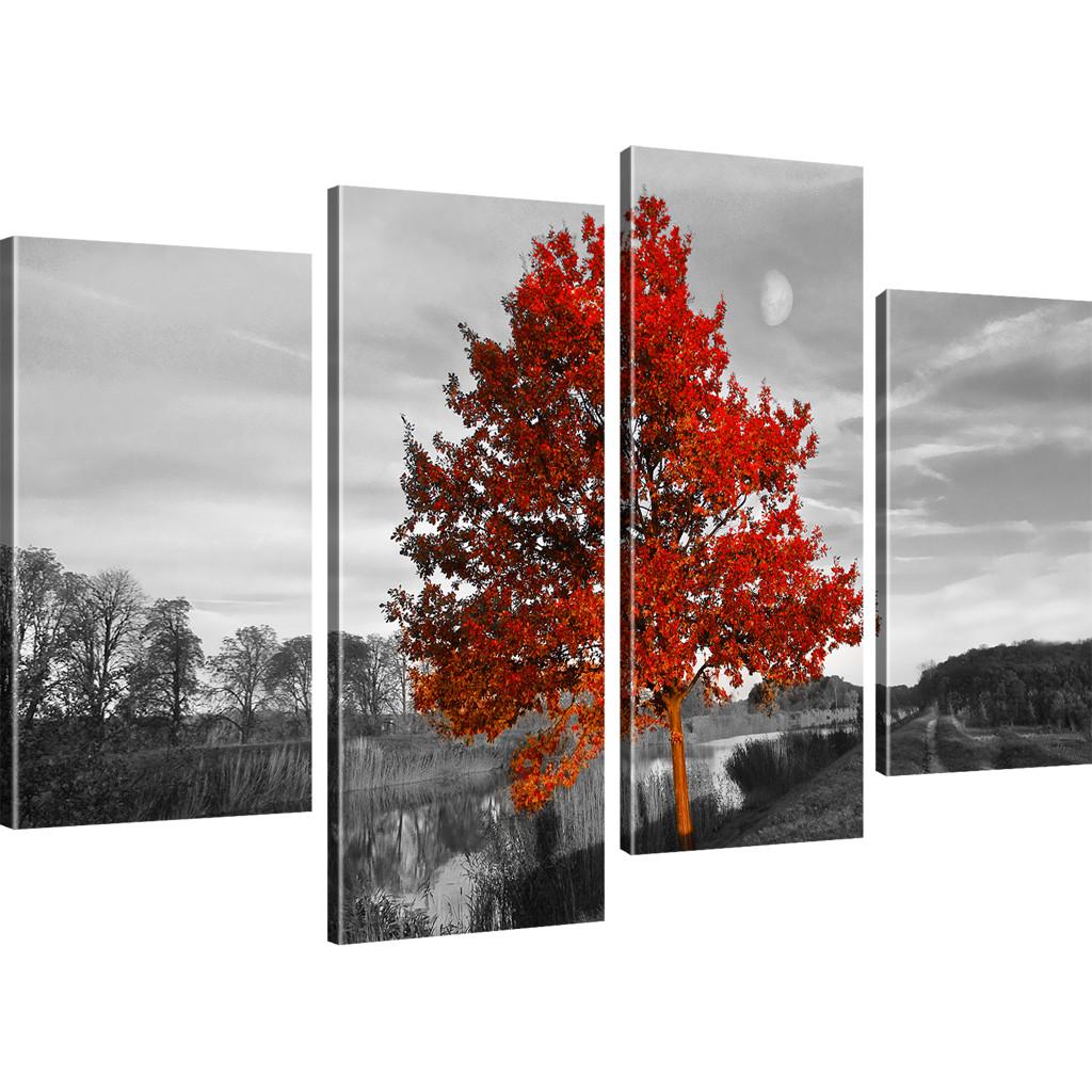 bilder roter baum wandbilder landschaft bild auf leinwand. Black Bedroom Furniture Sets. Home Design Ideas