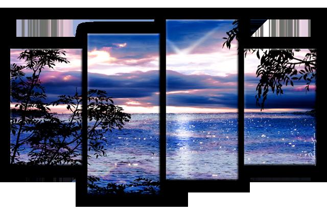Sonnenuntergang Meer Natur Bild Bilder Wandbild Kunstdruck 4 Teilig ...