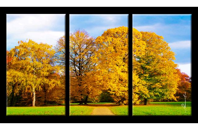 herbst park weg jahreszeit bild 3 teilige bilder auf leinwand wandbild ebay. Black Bedroom Furniture Sets. Home Design Ideas