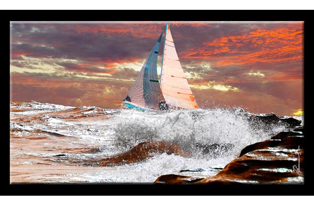 Atlantik Ozean Sturm Segler Boot Gran Canaria Insel Bilder Kunstdruck