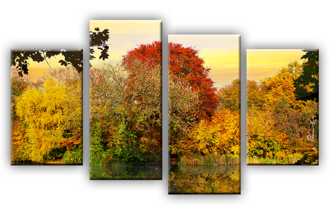 wald see herbst wandbilder auf leinwand fotodruck. Black Bedroom Furniture Sets. Home Design Ideas