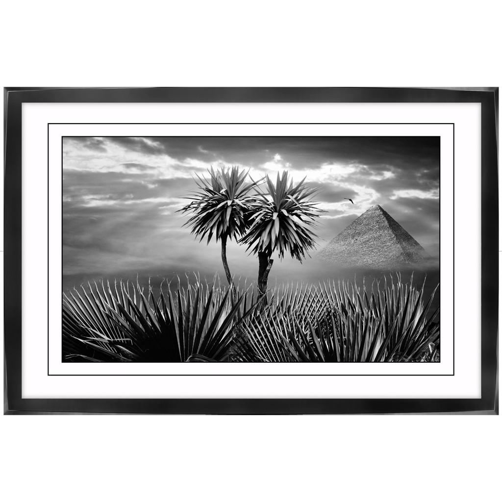 Poster-auf-Leinwand-mit-Rahmen-Afrika-Palmen-Pyramide-Wandbilder-Plaxiglas