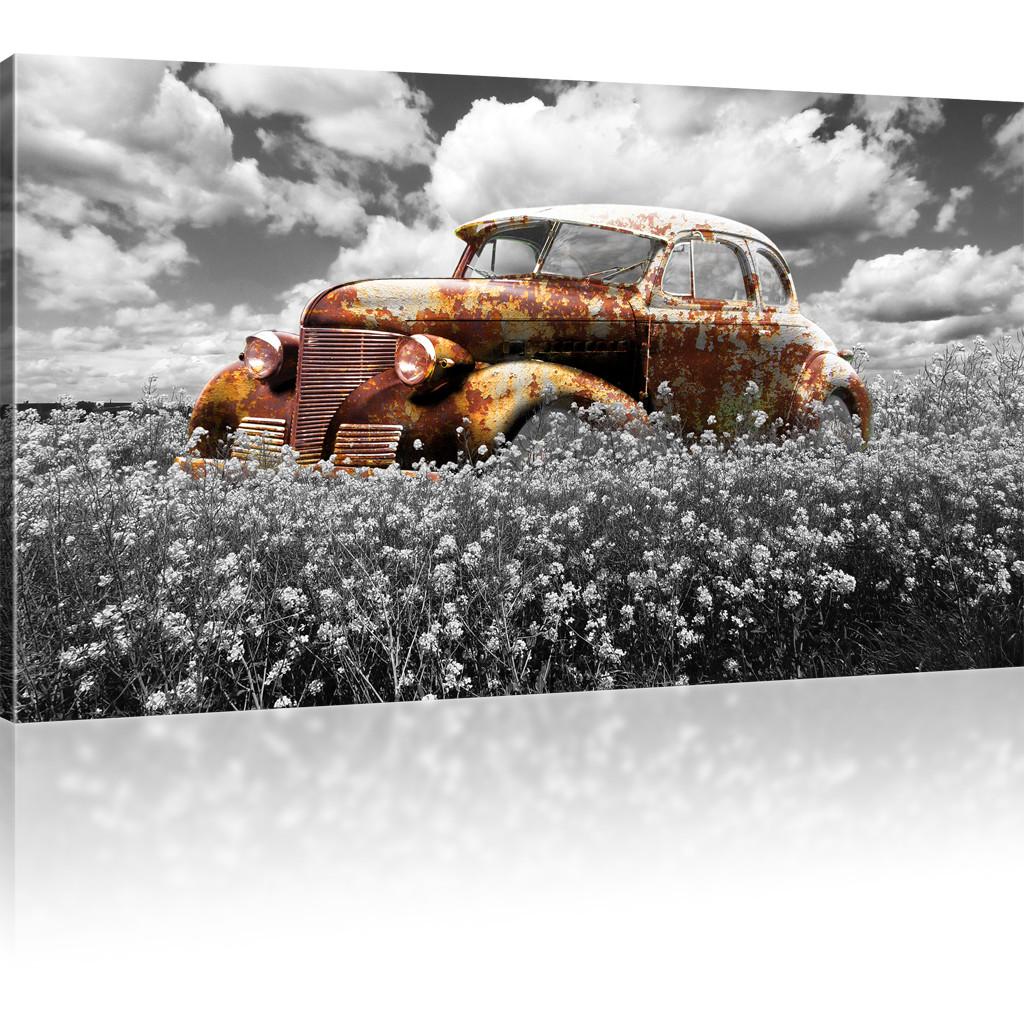 bilder rostiger oldtimer wandbild auf leinwand auto. Black Bedroom Furniture Sets. Home Design Ideas