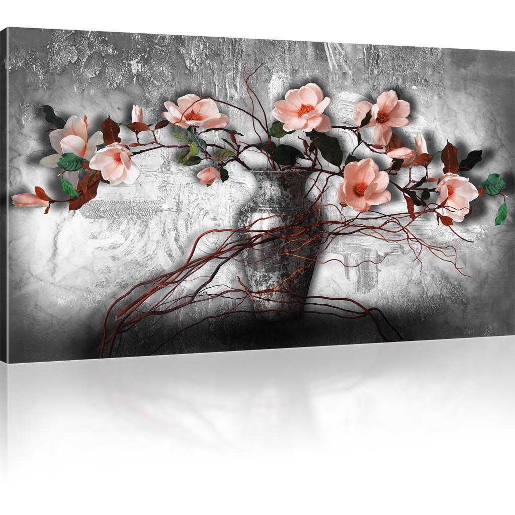bilder magnolien in der vase leinwandbild blumen wandbilder auf leinwand ebay. Black Bedroom Furniture Sets. Home Design Ideas