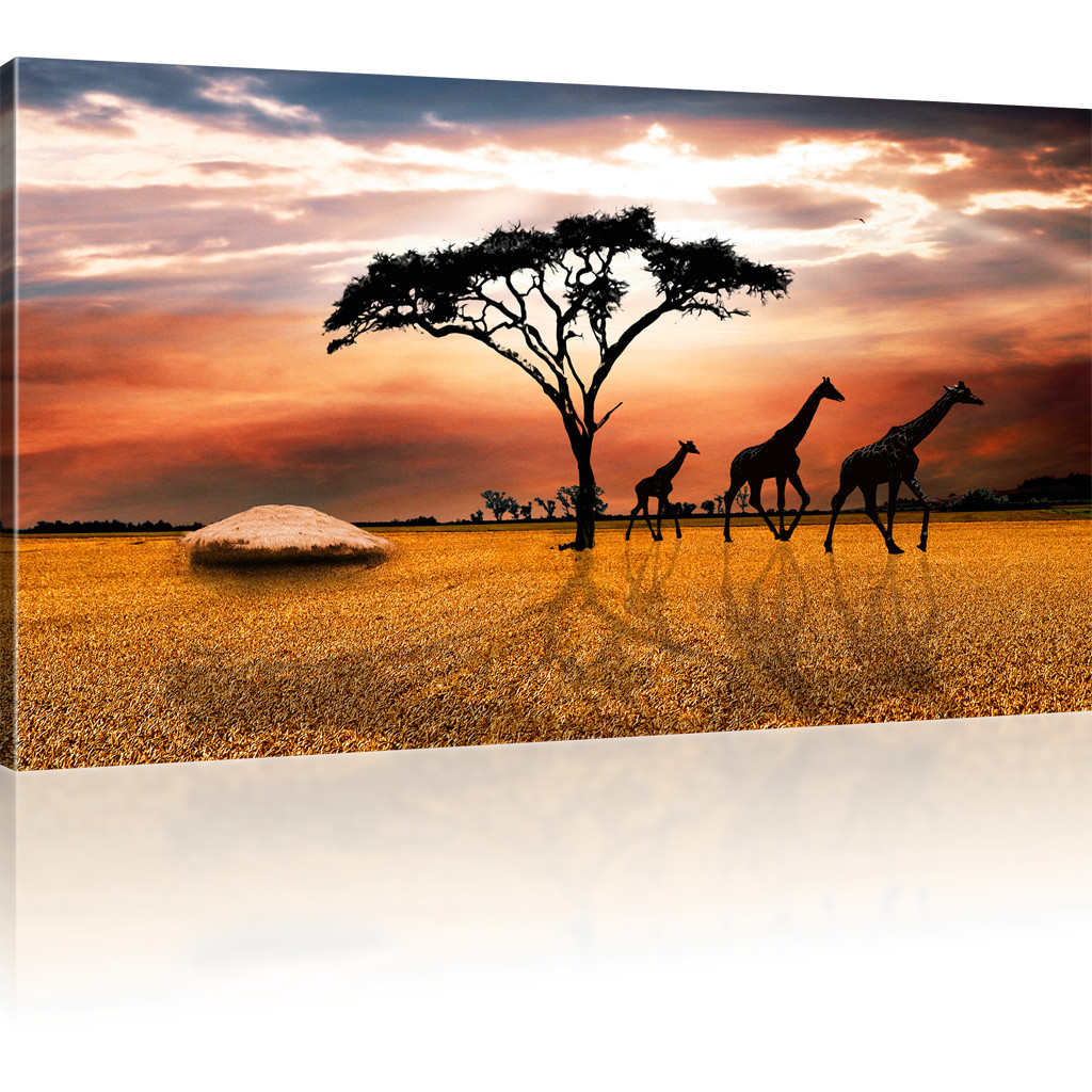 bilder savanne in afrika bild auf leinwand giraffen. Black Bedroom Furniture Sets. Home Design Ideas