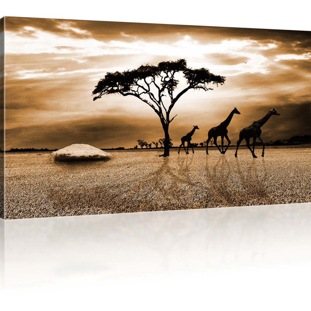 bilder savanne in afrika bild auf leinwand giraffen wandbild landschaft kunstdru ebay. Black Bedroom Furniture Sets. Home Design Ideas