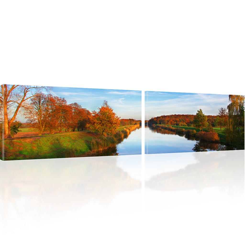 bilder fluss wandbilder landschaft bilder auf leinwand ebay. Black Bedroom Furniture Sets. Home Design Ideas