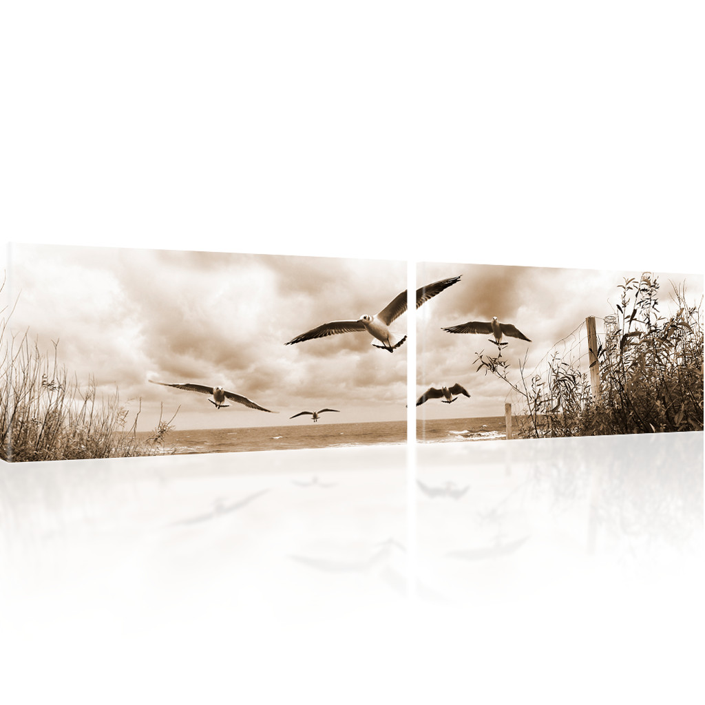 bild auf leinwand strand wandbild meer kunstdruck natur leinwandbild sommer ebay. Black Bedroom Furniture Sets. Home Design Ideas