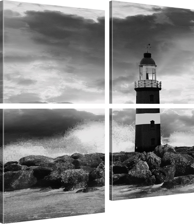 leuchtturm bild auf leinwand landschaft bilder sturm wandbild kunstdruck ebay. Black Bedroom Furniture Sets. Home Design Ideas