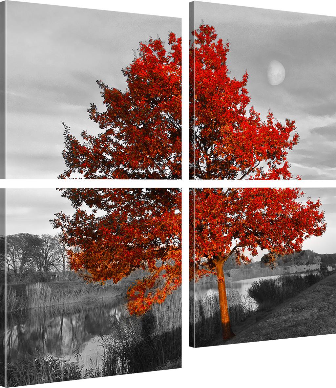 bilder roter baum wandbilder landschaft bild auf leinwand natur kunstdruck ebay. Black Bedroom Furniture Sets. Home Design Ideas