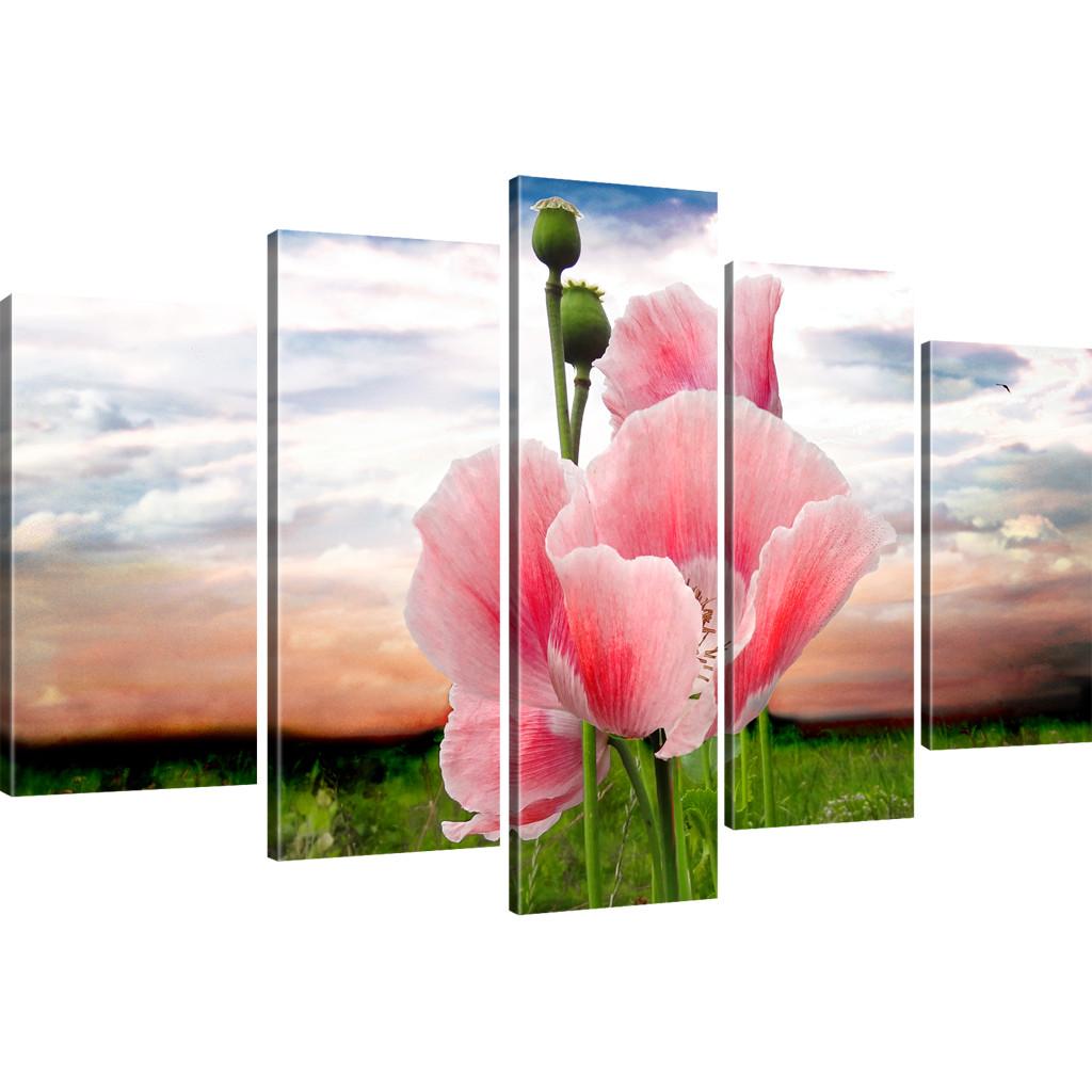 bilder mohnblume auf der wiese bilder auf leinwand blumen wandbilder rot lila sc ebay. Black Bedroom Furniture Sets. Home Design Ideas